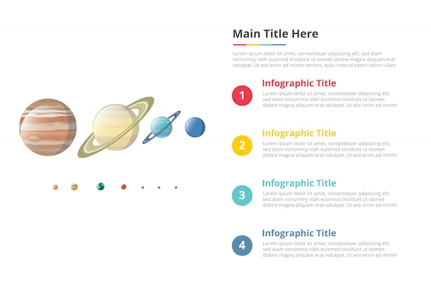 Various planet in galaxy size comparison infographics template with 4 points of free space text description