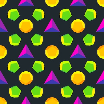 Various platonic solids violet green orange yellow colors seamless pattern  black background
