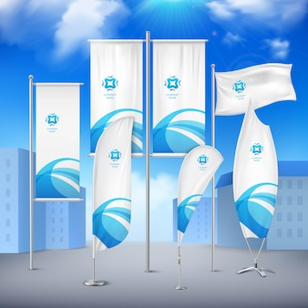 Various pole flags banners collection with  blue emblem for event announcement