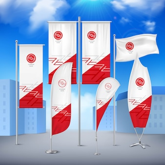 Various pole flags banners