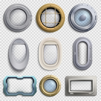 Various portholes isolated vector set