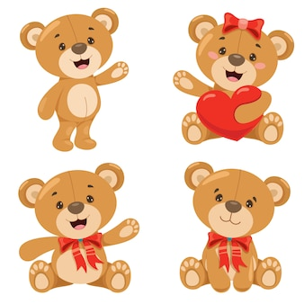 Various poses of cartoon teddy bear
