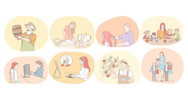 Различные профессии и концепция занятий.