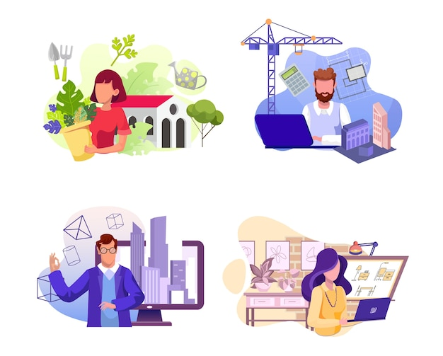 다양한 직업의 세트. 플로리스트, 건축가, 엔지니어 및 인테리어 캐릭터. 꽃 가게, 건축 회사, 부동산업자