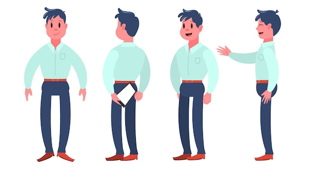 Various profiles of a character vector illustration