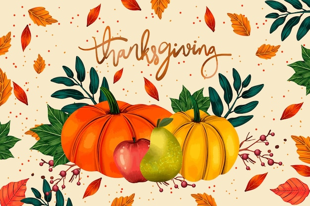 Various pumpkins watercolor thanksgiving background