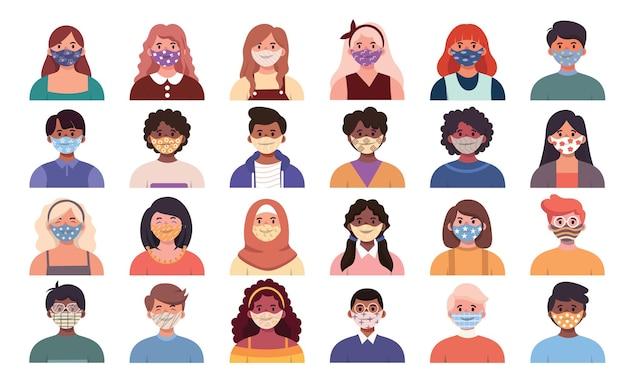 남성과 여성 모두 다양한 인종이 인간 의사 소통에서 얼굴을 가리기 위해 마스크를 착용하여 코로나 19 예방에주의하고 있습니다. 얼굴 마스크와 아바타 초상화