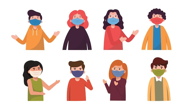 Various races, both men and women, are careful to prevent covid-19 by wearing masks to hide their faces in human communication.