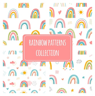 さまざまな虹。子供のスタイルを描きます。さまざまな装飾品。幼稚な北欧スタイル。フラットなデザイン。 3つの手のセットには、色のシームレスなパターンが描かれています。モダンなトレンディなイラスト