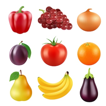 Various realistic fruits