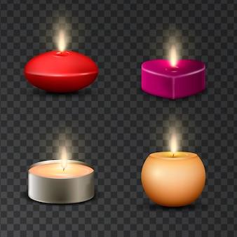 Коллекция различных реалистичных ароматических свечей