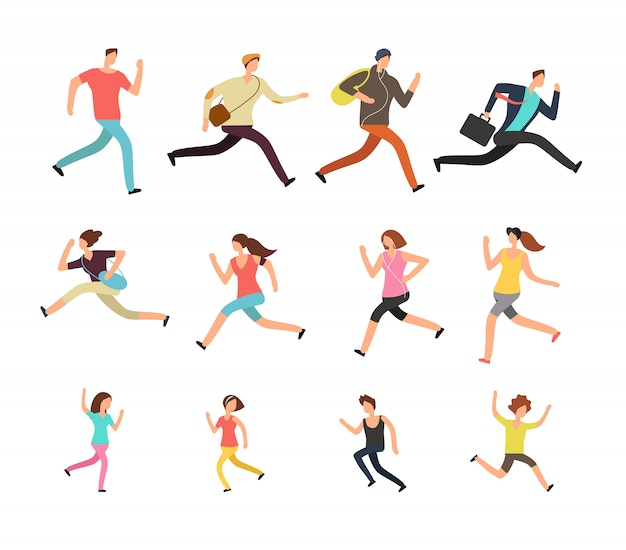 Various running people. hurrying active male, female and kids vector set