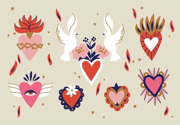 様々な神聖な心。伝統的なメキシコの心。手描き色の流行のベクトル図です。シームレスパターン