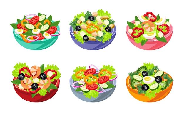 Различные салаты иллюстрации в мультяшном стиле. салат из овощей, рыбы и мяса. идеи здорового и вкусного питания