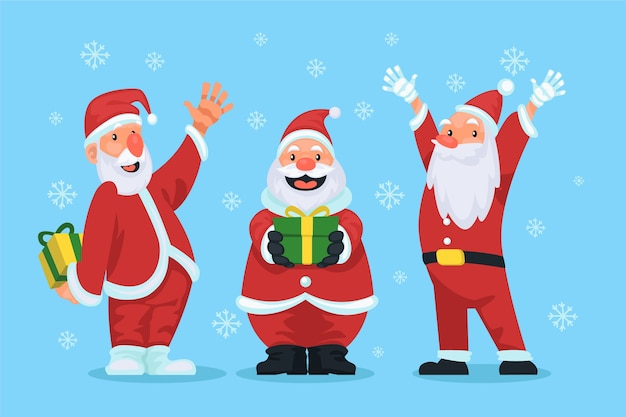 Various santa claus character and gifts