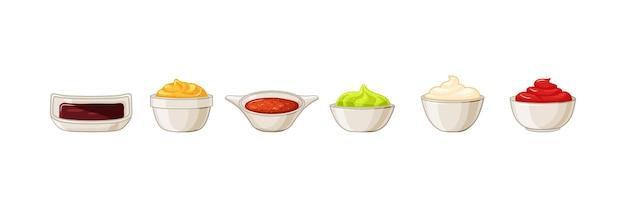 흰색 격리된 배경에 다양한 소스가 있습니다. 케첩, 마요네즈, 겨자, 간장, 와사비 벡터 일러스트레이션 만화가 있는 그릇.