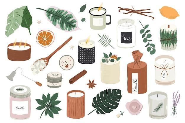 흰색 배경에 고립 된 다양한 향기로운 간장 양초 삽화