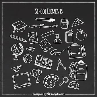 Various school elements in blackboard style