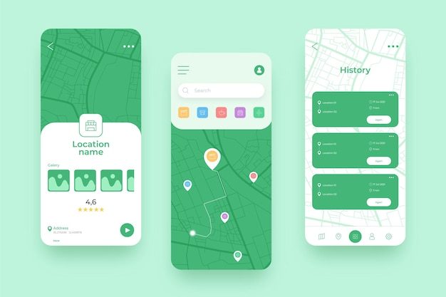 グリーンロケーションモバイルアプリのさまざまな画面