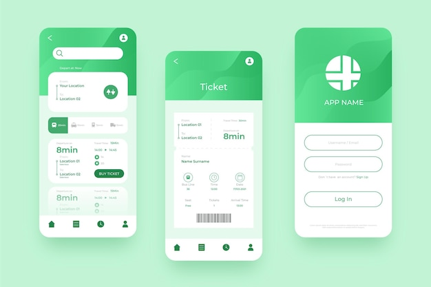 緑の公共交通機関のモバイルアプリのさまざまな画面