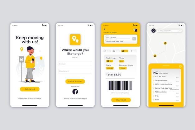 黄色の公共交通機関のモバイルアプリのさまざまな画面