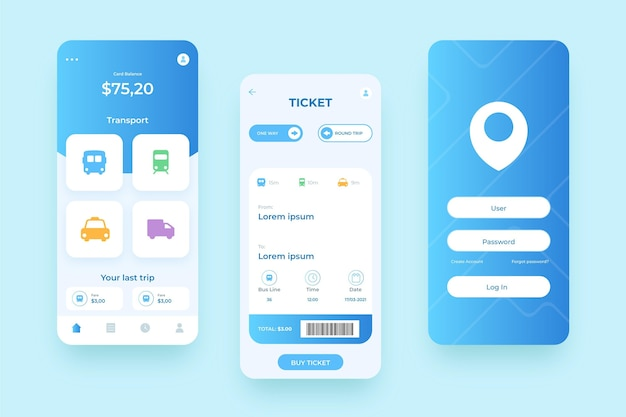 Various screens for public transport smartphone app