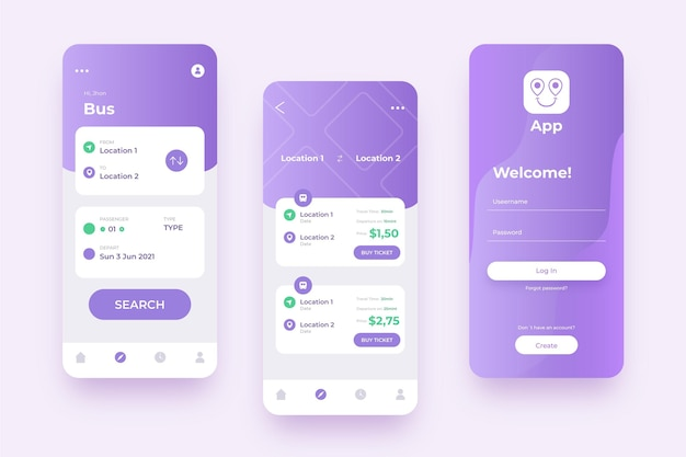 Various screens for violet public transport mobile app