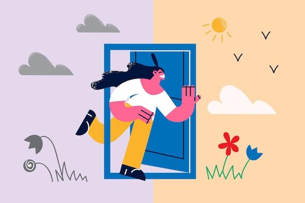 다양한 계절과 날씨 개념. 새와 꽃 벡터 삽화로 우울한 날씨부터 화창한 날씨까지 문 밖으로 뛰쳐나가는 젊은 웃는 여성 만화 캐릭터