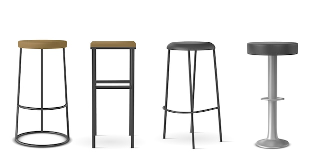 Various shapes of chairs realistic illustration set