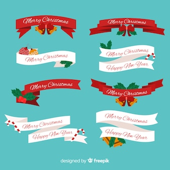 Various shapes of christmas ribbon collection