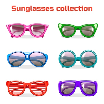 Various shapes and colors sunglasses