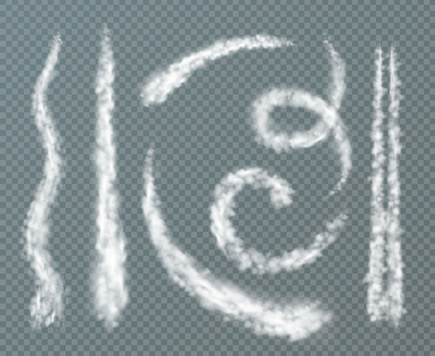 Various shapes condensation trails realistic set with spiral wavy double line