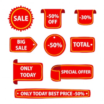 Various shapes of discount badges