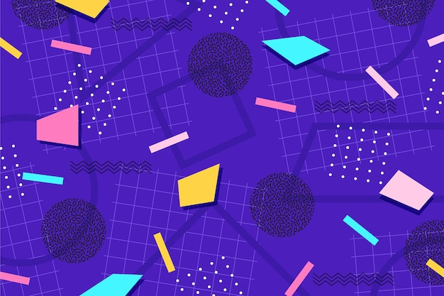 Various shapes and dots memphis background