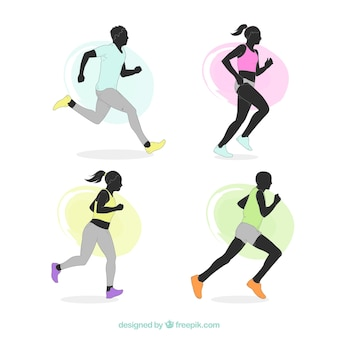 Various silhouettes of runners