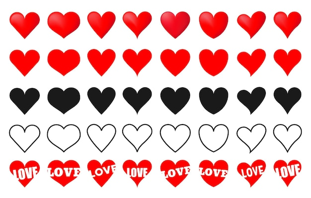 Various simple red vector heart love icon