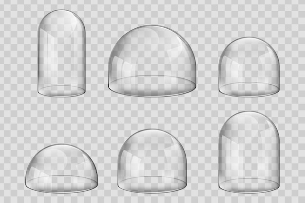 다양한 크기 및 구형 유리 돔 또는 벨 항아리.