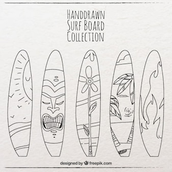Various sketches of surf boards