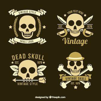 Various skull logos in retro style