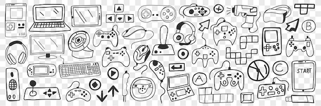 Various smart gadgets doodle set. collection of hand drawn computers smartphones headsets headphones screens players game console joystick and 3d glasses isolated