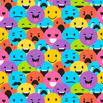 Various smiley emoticons seamless pattern