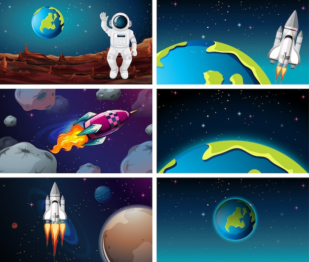 Various space scenes with earth