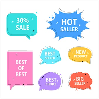 Various speech bubble doodle set for shopping