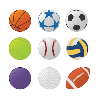 Various sport ball set collection