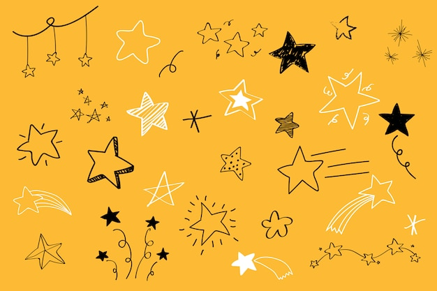 Various stars doodle collection vector