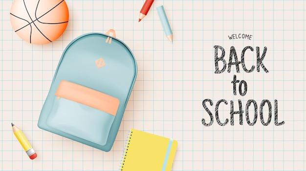 파스텔 색상 벡터 일러스트레이션을 사용하여 3d 사실적인 예술 스타일로 학교로 돌아가기 위한 다양한 편지지 및 학교 공급업체 프리미엄 벡터
