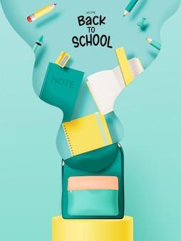 파스텔 색상 벡터 일러스트레이션을 사용하여 3d 사실적인 예술 스타일로 학교로 돌아가기 위한 다양한 편지지 및 학교 공급업체