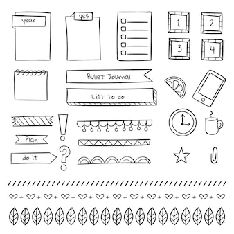 Various stationery bullet journal template