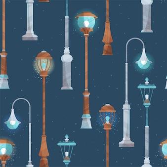 紺色の背景にさまざまな街灯