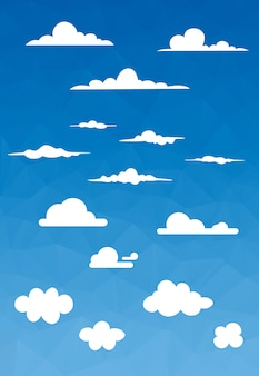 Various style of cloud with polygon sky background vector illustration